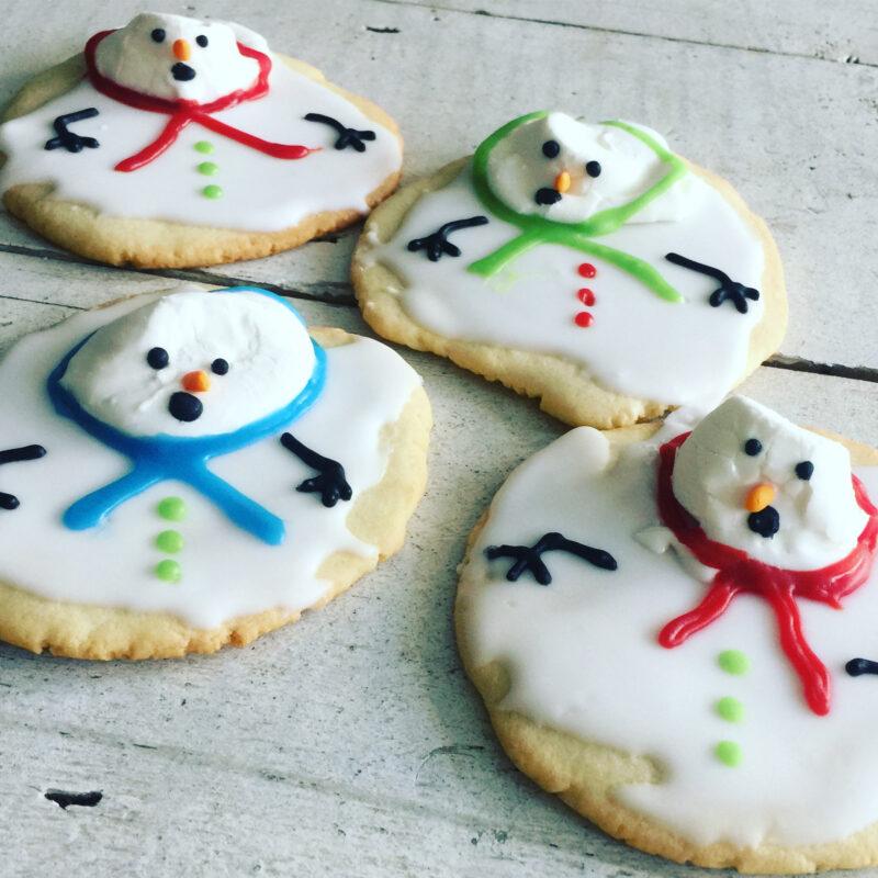 Melting snowmen custom christmas biscuits