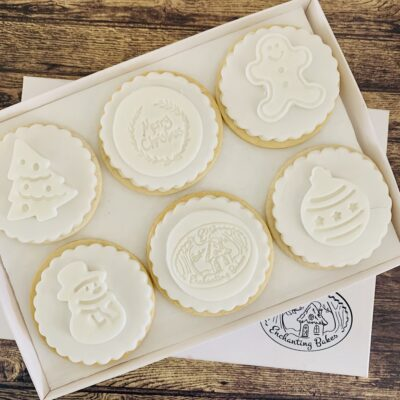 Branded white Christmas biscuit gift box - Christmas Biscuits from Enchanting Bakes
