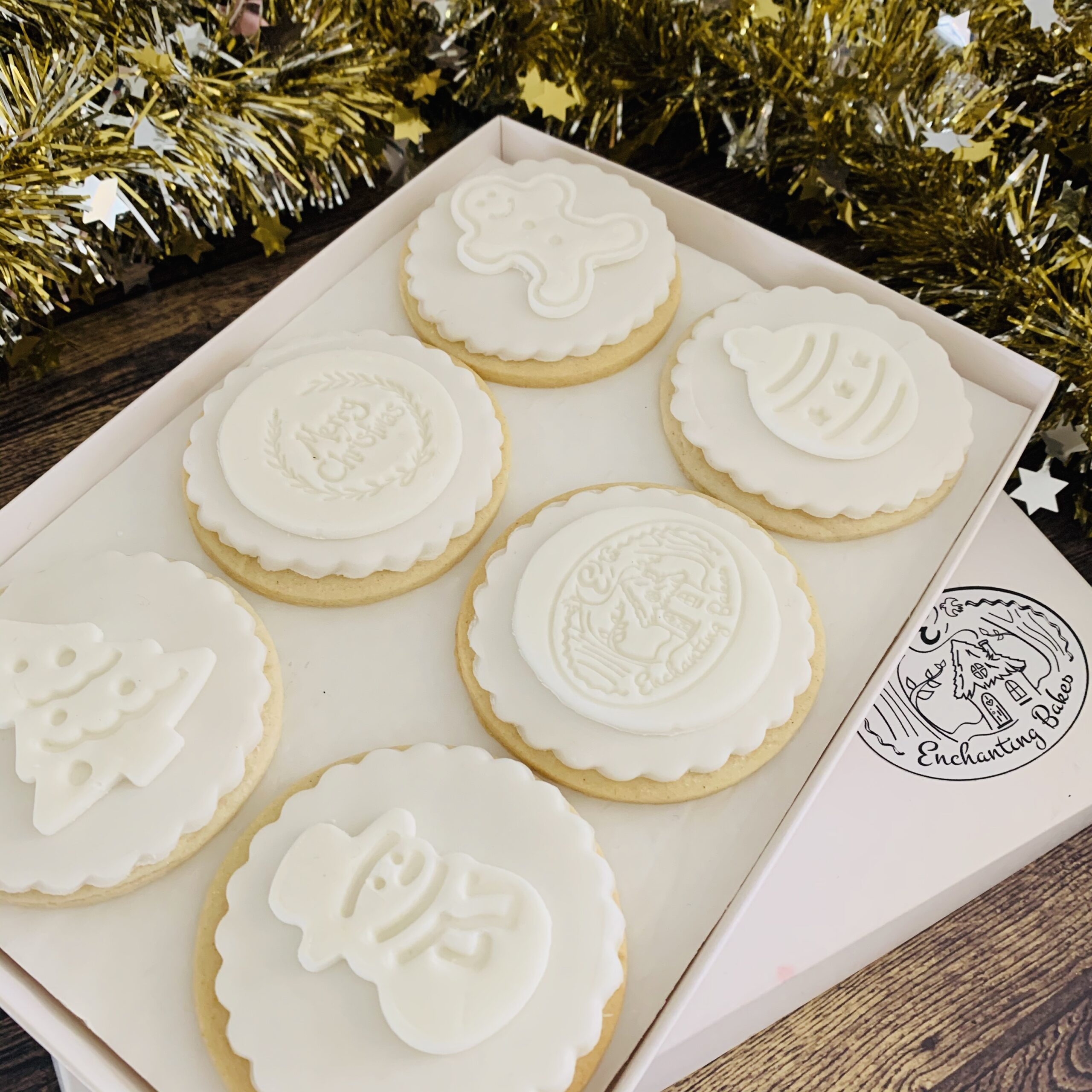 branded white christmas biscuit gift box