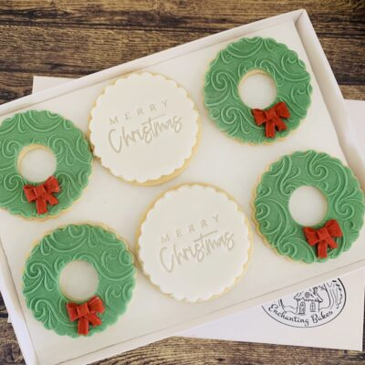 Christmas wreath biscuits - biscuits for business from Enchanting Bakes