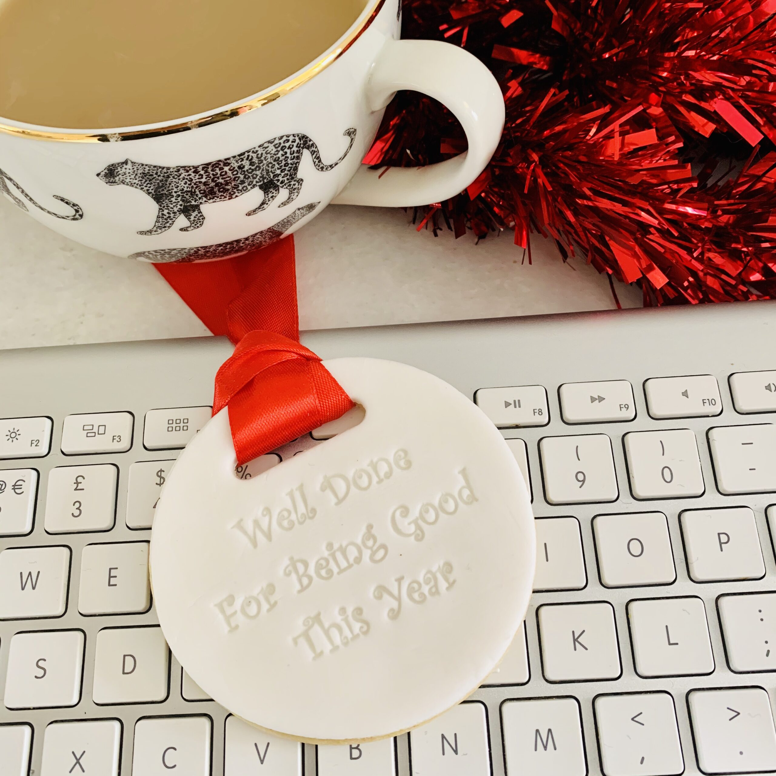 Biscuit medal from Santa - bespoke biscuits designed for you by Enchanting Bakes