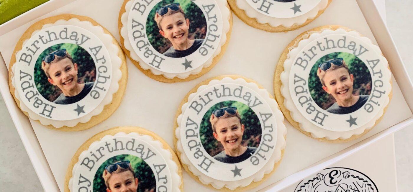 happy birthday photo biscuits
