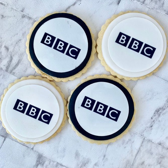 BBC logo - printed onto biscuits